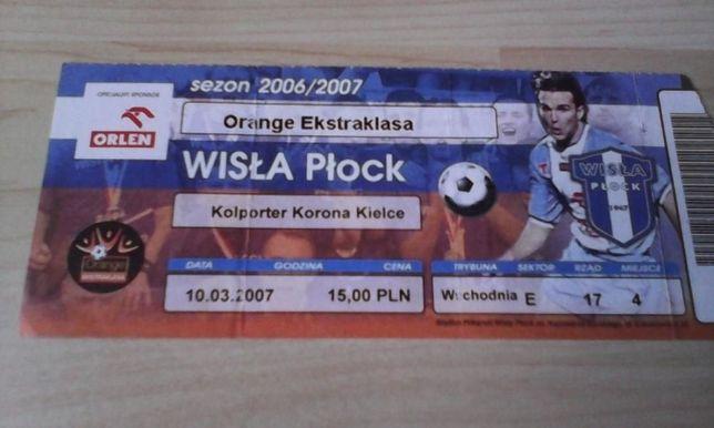 Bilet Wisła Płock- MKS Korona Kielce 2007 rok