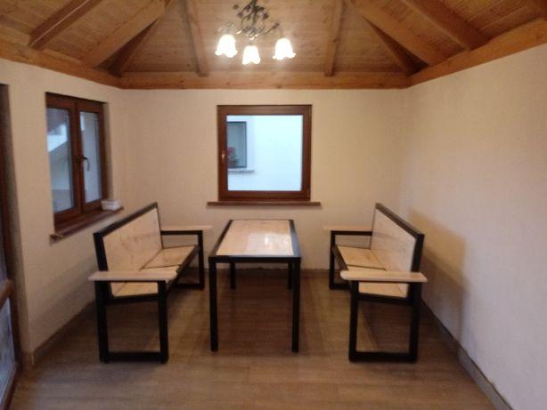 Komplet mebli ogrodowych Loft - stolik + dwie ławki.
