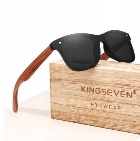 Okulary przeciwsłoneczne drewniane polaryzacyjne lustrzanki PREMIUM