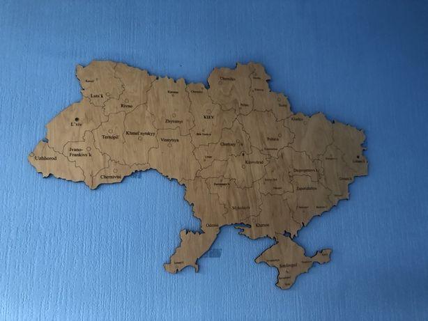 Карта Украины деревянная декоративная
