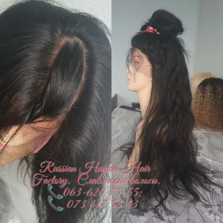 Натуральный парик система кожи на шёлке славянский вьющийся волос 75см