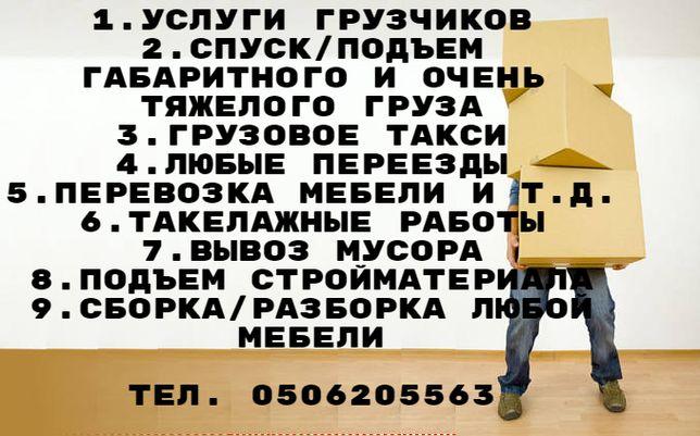 Услуги грузчиков, грузоперевозок, сборка/разборка мебели.