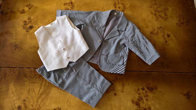 Garniturek dla chłopca chrzest ślub + białe koszulobody 68/74