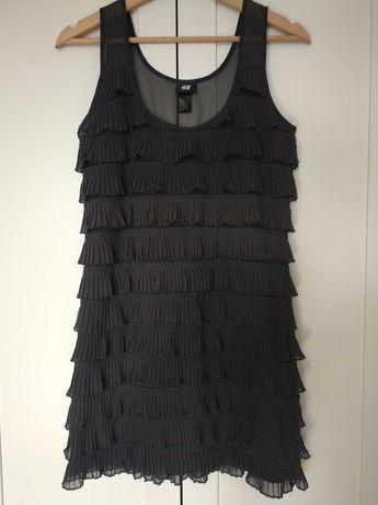 Sukienka z falbankami grafitowa H&M XS
