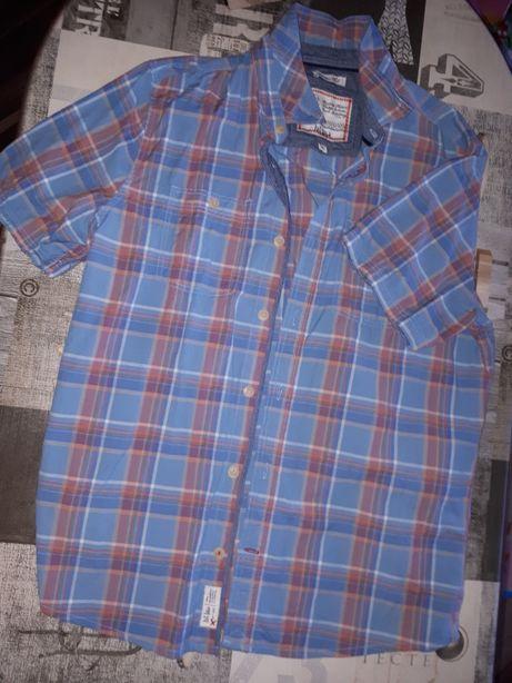 Koszula krótki rękaw, w kratkę niebiesko czerwona