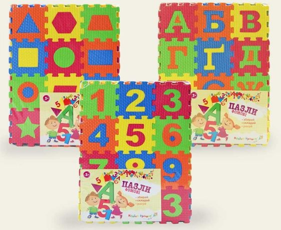 Теплый коврик в детскую пазлы фомовые пазл-коврик фигуры цифры буквы