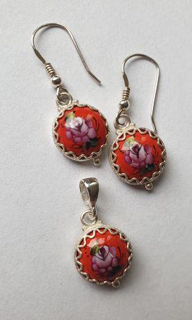 Komplet biżuterii z porcelaną