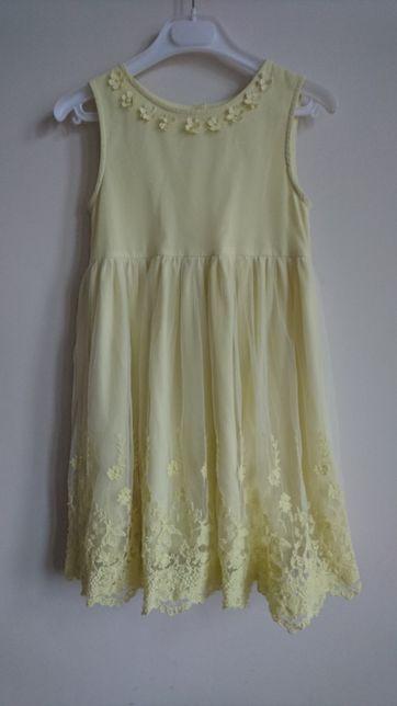 DUNNES sukienka 8 lat 128 gipiura koronka