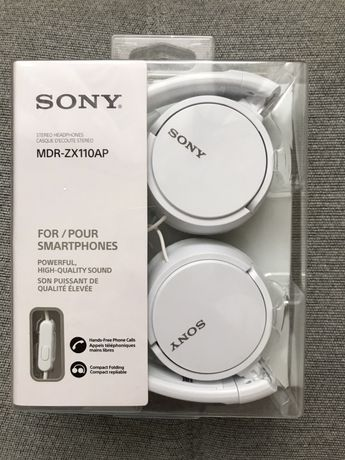 Słuchawki sony mdr-zx110ap nowe białe nauszne