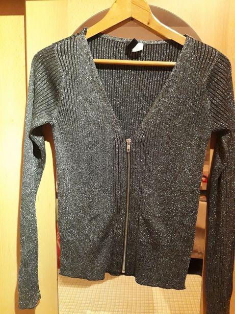 M H&M damski sweterek czarny błyszczący