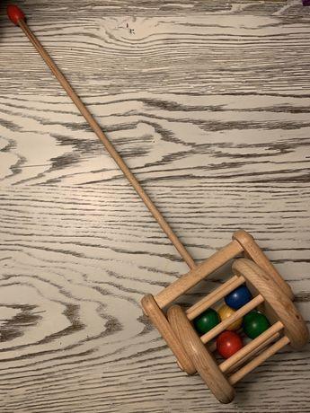 Pchacz człapacz drewniany bęben bębenek z kulkami. Przesyłka tylko 1zł