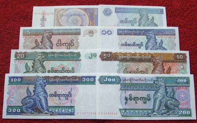 MYANMAR Kolekcjonerskie Banknoty Zestaw - 8 sztuk UNC