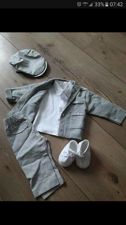 Ubranko na chrzest christopher baby club spodnie swter koszula czapecz