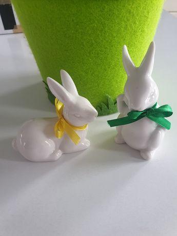 2 zajączki porcelana + Filcowa osłonka na doniczkę, ozdoby Wielkanocne