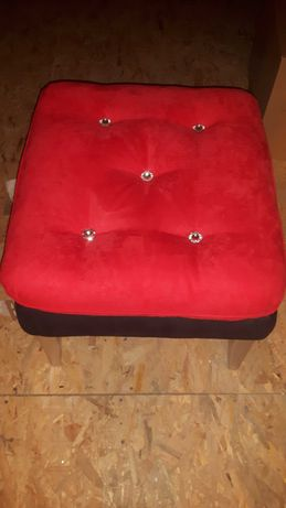 PUFA czerwono - czarna svarowski welur Glamur