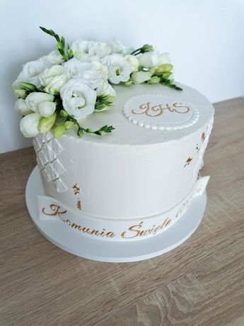 Komunia święta dekoracja na tort z masy cukrowej Hostia i napis