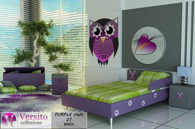 Basic Owl Violet łózko dla dziecka z materacem i barierką, 500 łóżek