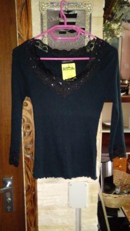 Sweterek czarny z koronką The Limited rozmiar XS