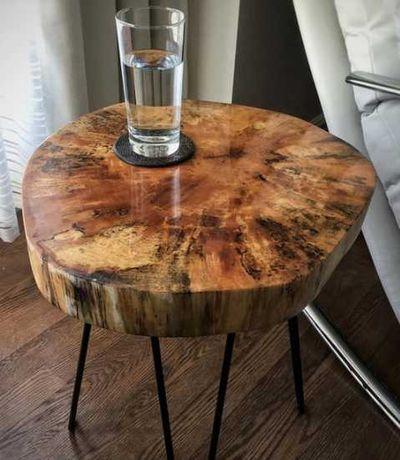Nowoczesny stolik kawowy, drewniany, okrągły,belkowy LOFT