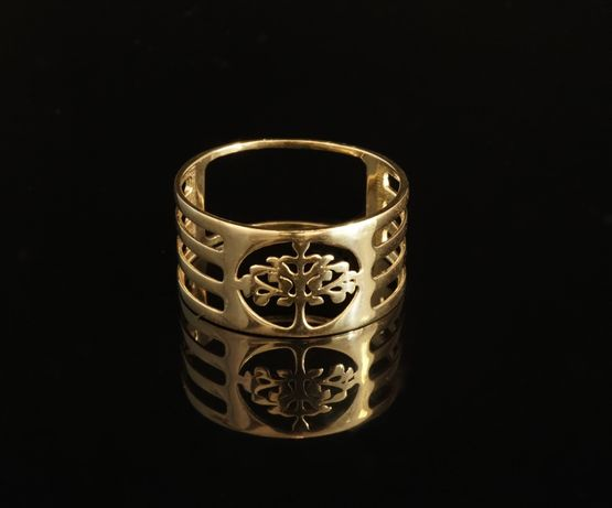 Złoto 585 - złoty pierścionek, obrączka. Drzewko Szczęścia. Rozmiar 25