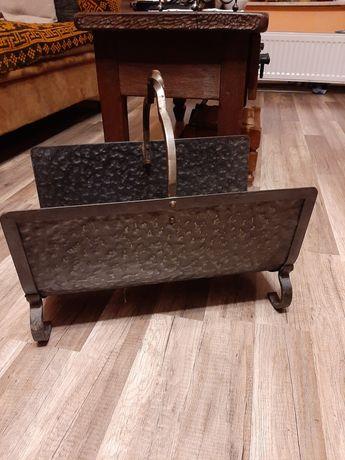 Kosz metalowy stojak nosidło na drewno do kominka