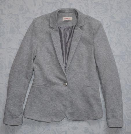р. 10/38 Серый трикотажный пиджак 51% хлопок жакет легкий пиджак