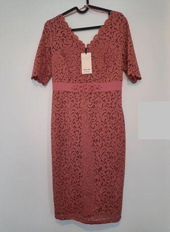 nowa Sukienka koronkowa różowa łososiowa Orsay 36