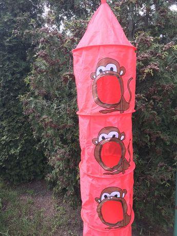 Sorter na zabawki, wieszak, wisząca półka, małpki, czerwony