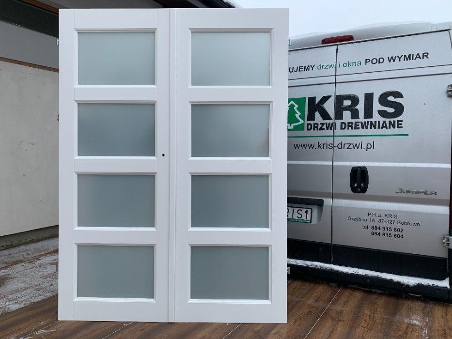 Drzwi wewnętrzne drewniane dwuskrzydłowe 152X206 białe od ręki Grzybno - image 1