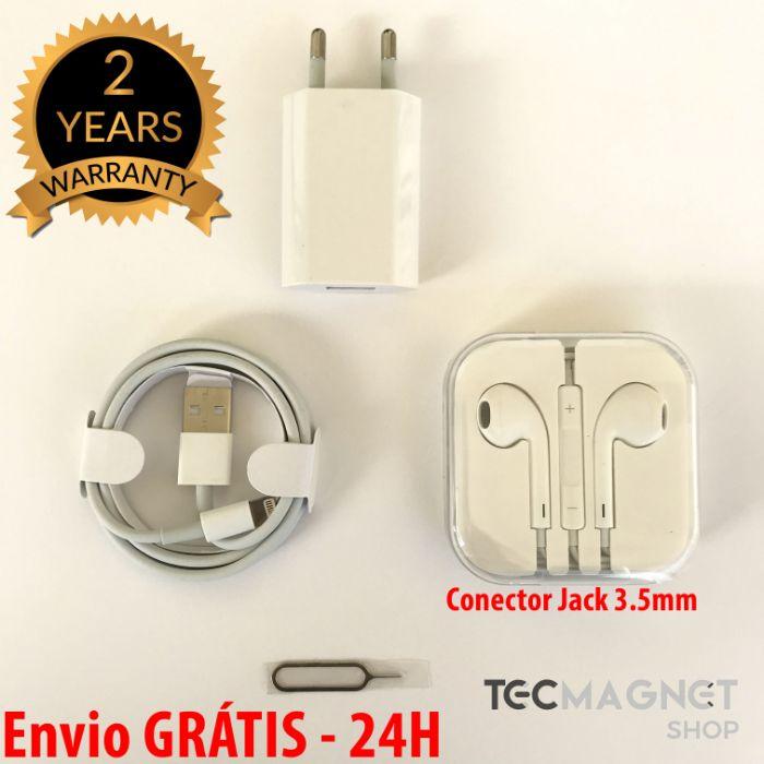 Kit Acessórios iPhone - Auriculares + Cabo + Carregador + SimPin