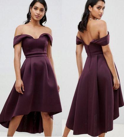Asos sukienka 36 s purpurowa wesele piankowa midi odkryte ramiona