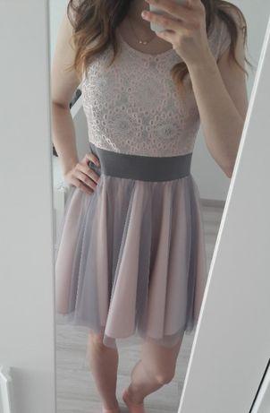 Sprzedam rozkloszowaną sukienkę z tiulowym dołem