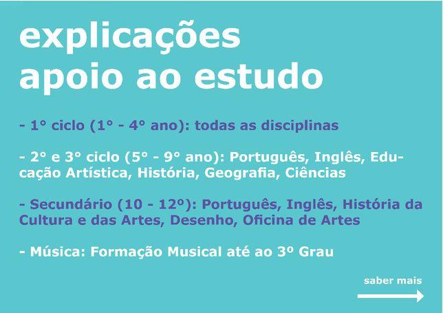 Explicações do 1º ao 12º ano e apoio ao estudo português inglês artes