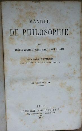 manuel de philosophie, amédée jacques, jules simon, 1873