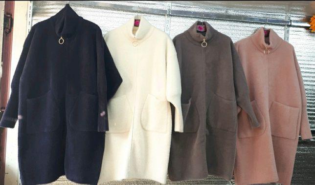 Теплые удлиненные кардиган-пальто Альпака