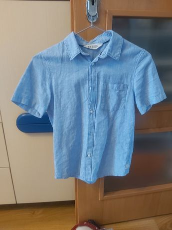 Koszula z krótkim rękawem H&M rozmiar 140 dla chłopca niebieska