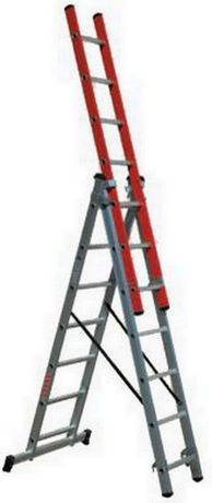 Escada tripla 3+3+3 mts degrau quadrado alumínio c/ lance em fibra