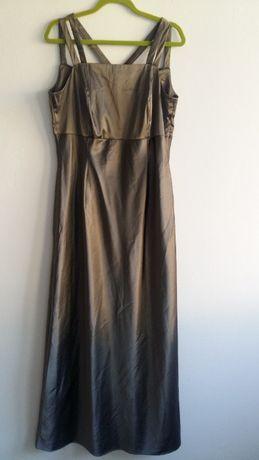 Sukienka 38 M wieczorowa złota maxi długa