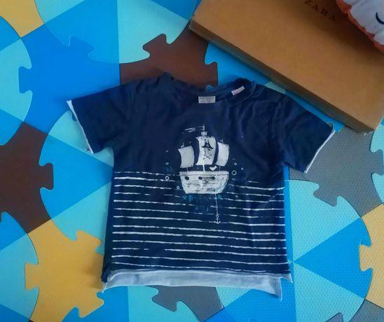 Zara 98 t-shirt koszulka statek piraci