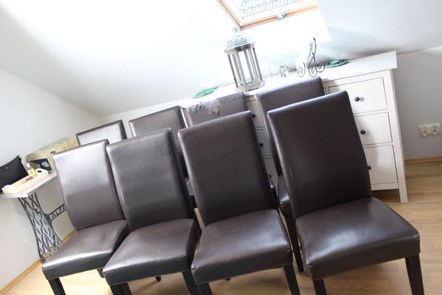 Krzesła (8x) klasyczne do jadalni, komplet, eko skóra