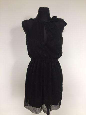 Czarna sukienka błyszcząca z wycięciem S h&m