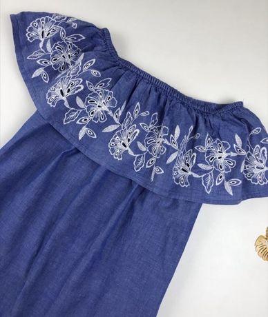 Платье синее джинс с вышивкой