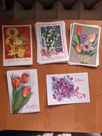 Советские открытки чистые/новые с Новым годом, 8 марта, 1 мая