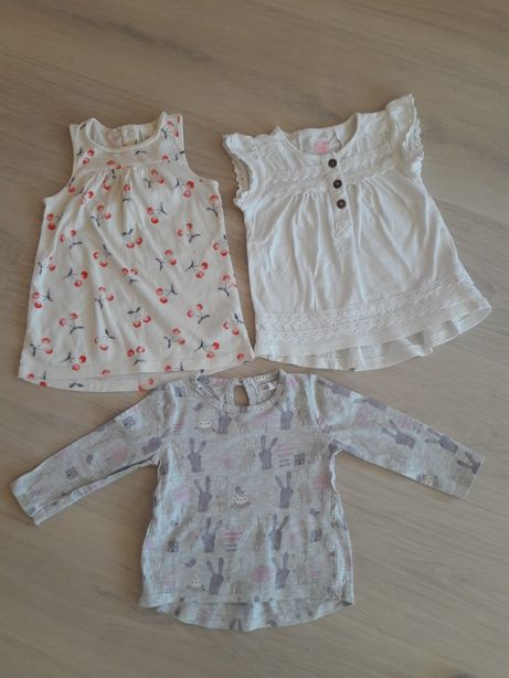 Koszulki-sukienki na lato 74 cm