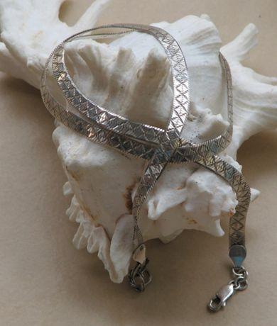 Naszyjnik płaski dwustronny srebro 925
