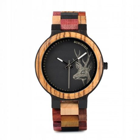 Nowy drewniany zegarek damski BOBO BIRD Rainbow z jeleniem P14-3