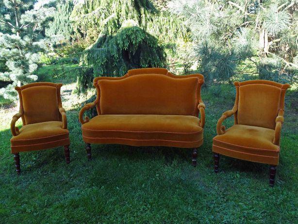 Sofa eklektyczna + 2 fotele, antyki
