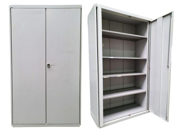Używana szafa metalowa GŁĘBOKA 195x115x52 cm półki metalowe
