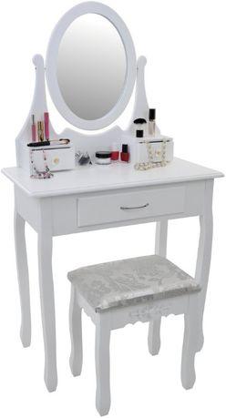 Toaletka kosmetyczna z lustrem i taboretem 1 szuflada + 2 małe