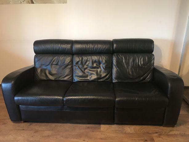 Skórzana czarna kanapa